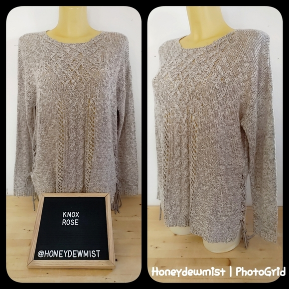 KNOX ROSE Knit Tan Pull Over Sweater